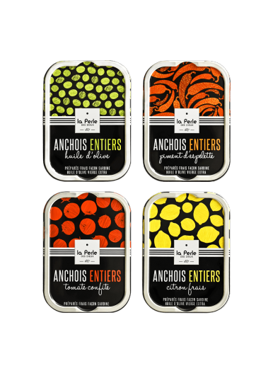Assortiment d'anchois entiers